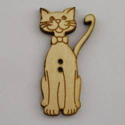 Knopf, Holzknopf Katze Kater mit Krawatte