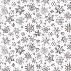 Patchworkstoff Quilt Stoff Schneeflocken silber grau weiss