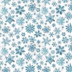 Patchworkstoff Quilt Stoff Schneeflocken blau weiss