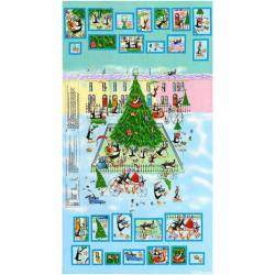 Patchworkstoff Stoff Quilt Panel Pinguine Advent Kalender 60x112cm