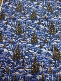 Patchworkstoff Quilt Stoff Winterdorf Landschaft mit Glitzer