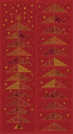 Patchworkstoff Quilt Stoff Adventskalender Panel auf burgundy