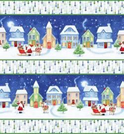 Patchworkstoff Quilt Stoff Christmas Village Border Streifen