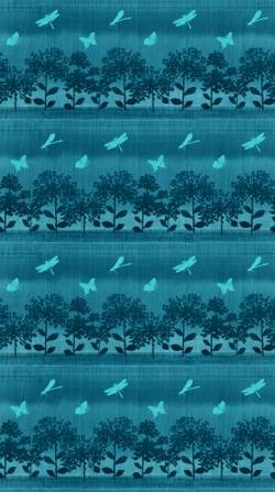 Patchworkstoff Quilt Stoff Nature Studies blau türkis Verlauf kleine Bäume
