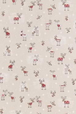 Dekostoff Weihnachten Rentiere mit Schnee