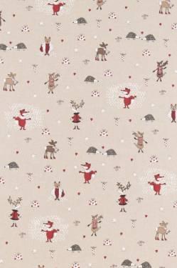 Dekostoff Weihnachten Rentiere, Igel, Fuchs, Eule ... Waldtiere