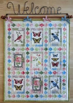 Materialpackung Wandquilt Frühling Vögel Blumen *Postcards* 45 x 56 cm MP21-0094