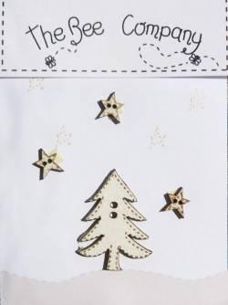 Knopf, Holzknopf TBM7 kleiner Baum und 3 Sterne beige