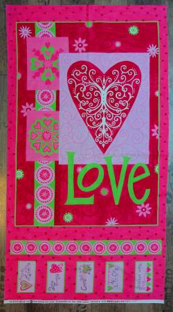 Patchworkstoff Panel LOVE 60x100cm pink grün