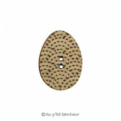 Knopf, Holzknopf Ei mit schwarzem Dekor
