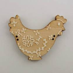 Knopf, Holzknopf Huhn mit weißem Dekor Blick nach rechts