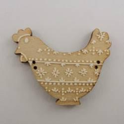 Knopf, Holzknopf Huhn mit weißem Dekor Blick nach links
