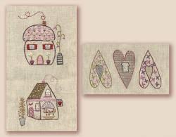 Stickbild Nr.431 Dans ma rue-N°4 zwei Häuser und drei Herzen
