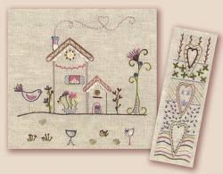 Stickbild Nr.433 Dans ma rue-N°6 4 Häuser und 1 Blume