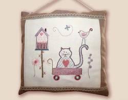 Stickbild Nr. 720 Quand les chats s`en melent -N°1 Katze im Handwagen