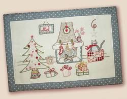 Stickbild Nr. 478 Quand l`hiver s`en mele -N°1 Weihnachtsszene mit Kamin