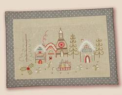 Stickbild Nr. 480 Quand l`hiver s`en mele -N°3 Winterlandschaft mit Häusern