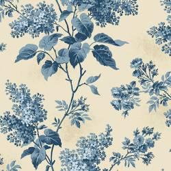 Patchworkstoff Quilt Stoff Blue Sky - grosse blaue Blumen auf creme