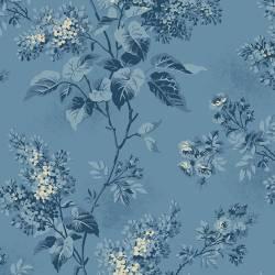 Patchworkstoff Quilt Stoff Blue Sky - grosse blaue Blumen auf blau