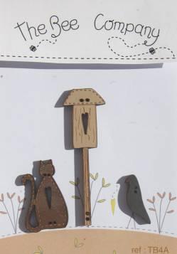 Knopf, Holzknopf TB4A Katze, Vogelhaus und Vogel
