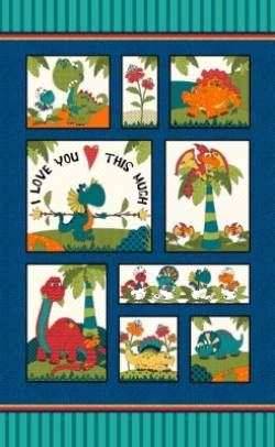 Patchworkstoff Panel `I love you this much` Dinosaurier