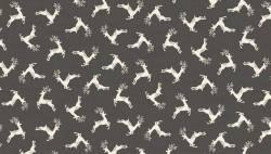 Patchworkstoff Weihnachten kleine süße Rentiere auf dunkel grau