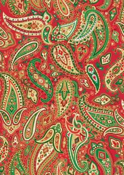 Patchworkstoff Weihnachten Paisley Red