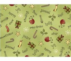 Patchworkstoff Weihnachten Schrift und Dekoration auf hellgrün *All Things Christmas*