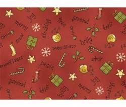 Patchworkstoff Weihnachten Schrift und Dekoration auf burgundy