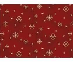 Patchworkstoff Weihnachten Schneeflocken auf burgundy