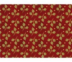 Patchworkstoff Weihnachten grüne Blätter Ranken Illex auf burgundy