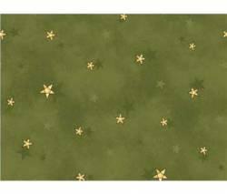 Patchworkstoff Weihnachten gelbe Sterne auf grün
