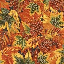 Patchworkstoff Quilt Stoff R. Kaufman Blätter Herbstfarben