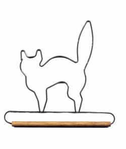 Dekobügel, Quilt Hänger `Schwarze Katze` 7 1/2 Inch  Black Cat mit 1/4 Inch Holzstange