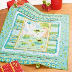 Materialpackung Kinder Quilt `Frogland Friends` 1,35 x 1,47m Frösche & Schildkröten