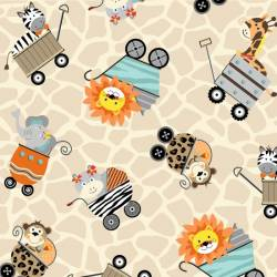 Patchworkstoff Stoff Bungle Jungle Tiere in Wagen auf creme