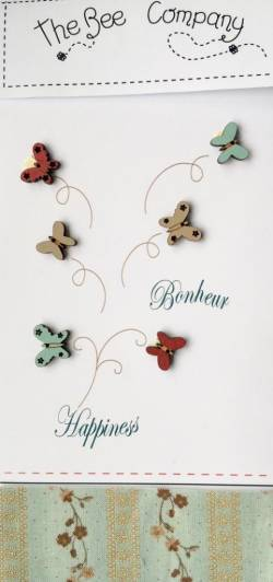 Knopf, Holzknopf TB25B Schmetterlinge
