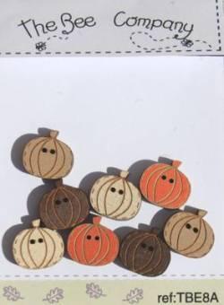 Knopf, Holzknopf TBE8A 8 kleine Kürbisse
