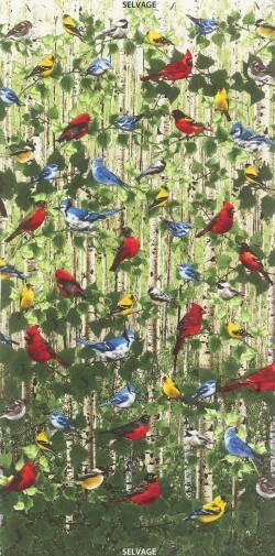 Patchworkstoff Stoff Vogelgezwitscher Natur 4722 60cm Panel