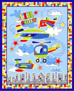 Patchworkstoff Quilt Stoff Panel Kinder Air Show Flugzeug Hubschrauber