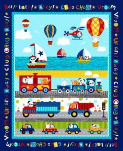 Patchworkstoff Quilt Stoff Panel Kinder Off we go Fahrzeuge