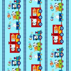 Patchworkstoff Quilt Stoff Kinder Off we go Border Zug Choo Choo Train
