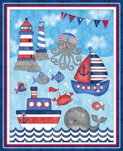 Patchworkstoff Quilt Stoff Panel Kinder Maritim Anchors Away