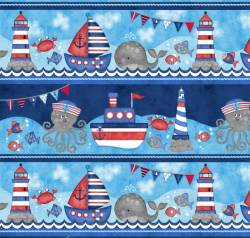 Patchworkstoff Quilt Stoff Kinder Streifen Border Maritim Anchors Away