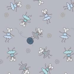 Patchworkstoff Quilt Stoff Kinder Mäuse auf grau