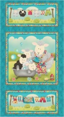 Patchworkstoff Quilt Stoff Splish Splash Panel Schafe baden und waschen
