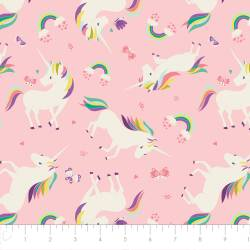 Patchworkstoff Quilt Stoff I believe in unicorns Einhorn rosa