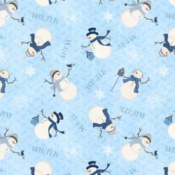 Patchworkstoff Stoff Serie *Welcome Winter* Schneemann blau weiss Schrift