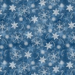 Patchworkstoff Stoff Serie *Welcome Winter* Schneeflocken auf blau