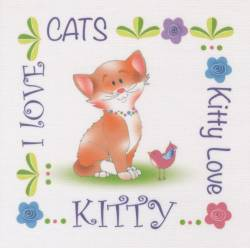 Patchwork Stoff Quilt Art Panel Cat Katze Kitty